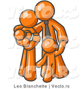 Vector of Orange Family Guy, a Father, Hugging His Wife and Two Children by Leo Blanchette