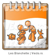 Vector of Orange Family Showing a Guy Kneeling Beside His Wife and Newborn Baby with Their Dog and Cat on a Notebook, Symbolizing Family Planning by Leo Blanchette