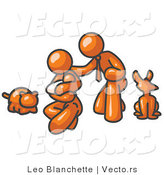 Vector of Orange Family with Cat, Dog, and Newborn Baby by Leo Blanchette