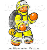 Vector of Orange Firefighter in a Uniform, Fighting a Fire by Leo Blanchette