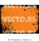 Vector of Orange Floral Grunge Background Design with Blackend Edges by KJ Pargeter