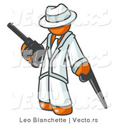 Vector of Orange Gangster Guy Carrying Guns by Leo Blanchette