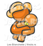 Vector of Orange Girl Holding a Baby by Leo Blanchette