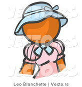 Vector of Orange Girl in a Pink Dress and Blue Hat by Leo Blanchette