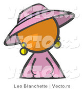 Vector of Orange Girl in a Purple Dress and Hat by Leo Blanchette