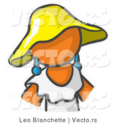Vector of Orange Girl in a White Dress and Yellow Hat by Leo Blanchette