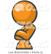 Vector of Orange Girl Leaning and Crossing Her Arms by Leo Blanchette