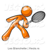 Vector of Orange Girl Playing Tennis by Leo Blanchette