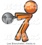 Vector of Orange Girl Working out with a Kettle Bell by Leo Blanchette