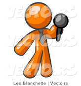 Vector of Orange Guy, a Comedian or Vocalist, Wearing a Tie, Standing on Stage and Holding a Microphone While Singing Karaoke or Telling Jokes by Leo Blanchette