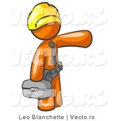 Vector of Orange Guy, a Construction Worker, Handyman or Electrician, Wearing a Yellow Hardhat and Tool Belt and Carrying a Metal Toolbox While Pointing to the Right by Leo Blanchette