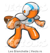 Vector of Orange Guy American Football Player by Leo Blanchette