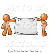 Vector of Orange Guy and Woman Holding a Blank Banner by Leo Blanchette