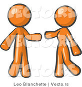 Vector of Orange Guy and Woman Preparing to Embrace by Leo Blanchette