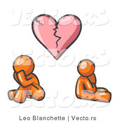 Vector of Orange Guy and Woman Under a Broken Heart by Leo Blanchette