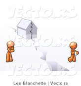 Vector of Orange Guy and Woman with a House Divided by Leo Blanchette