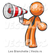 Vector of Orange Guy Announcing with a Megaphone by Leo Blanchette