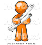Vector of Orange Guy Architect Carrying Rolled Blue Prints and Plans by Leo Blanchette