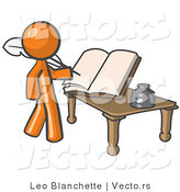 Vector of Orange Guy Author Writing History on Blank Pages of a Book by Leo Blanchette
