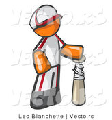 Vector of Orange Guy Baseball Player with a Bat by Leo Blanchette