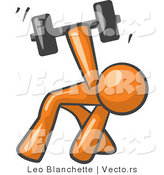 Vector of Orange Guy Bent over and Working out with a Dumbbell by Leo Blanchette