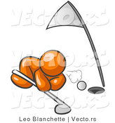 Vector of Orange Guy Blowing Golf Ball into Hole by Leo Blanchette