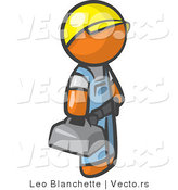 Vector of Orange Guy Blue Collar Worker Wearing a Hardhat and Carrying a Tool Box by Leo Blanchette