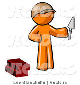 Vector of Orange Guy Brick Layer Holding a Trowel by Leo Blanchette