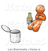 Vector of Orange Guy Bum with Alcohol and a Can by Leo Blanchette
