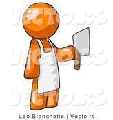 Vector of Orange Guy Butcher Holding a Meat Cleaver Knife by Leo Blanchette