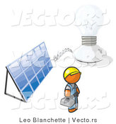 Vector of Orange Guy by a Light and a Solar Panel by Leo Blanchette