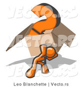 Vector of Orange Guy Carrying a Heavy Question Mark in a Box by Leo Blanchette