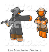 Vector of Orange Guy Challenging Another Man to a Duel with Guns by Leo Blanchette