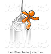 Vector of Orange Guy Climbing to the Top of a Skyscraper Tower like King Kong, Success, Achievement by Leo Blanchette