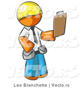 Vector of Orange Guy Construction Site Supervisor Holding a Clipboard by Leo Blanchette