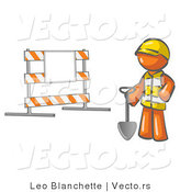 Vector of Orange Guy Construction Worker in a Yellow Vest and Hardhat, Holding a Shovel and Standing by a Road Block Sign by Leo Blanchette