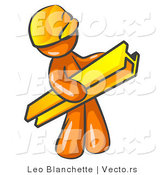 Vector of Orange Guy Construction Worker Wearing a Hardhat and Carrying a Beam at a Work Site by Leo Blanchette