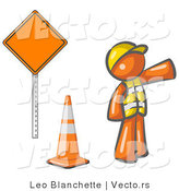 Vector of Orange Guy Construction Worker Wearing a Vest and Hardhat, Pointing While Standing by a Cone and Sign at a Road Work Site by Leo Blanchette