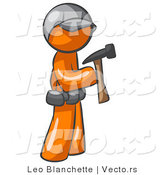 Vector of Orange Guy Contractor Hammering by Leo Blanchette