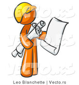 Vector of Orange Guy Contractor or Architect Holding Rolled Blueprints and Designs and Wearing a Hardhat by Leo Blanchette