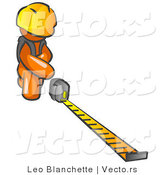 Vector of Orange Guy Contractor Wearing a Hardhat, Kneeling and Measuring by Leo Blanchette