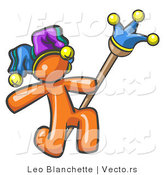 Vector of Orange Guy Court Jester Kneeling by Leo Blanchette