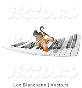 Vector of Orange Guy Dancing and Walking on a Piano Keyboard by Leo Blanchette