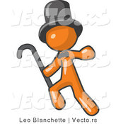 Vector of Orange Guy Dancing and Wearing a Top Hat by Leo Blanchette