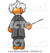 Vector of Orange Guy Depicted As Albert Einstein Holding a Pointer Stick by Leo Blanchette