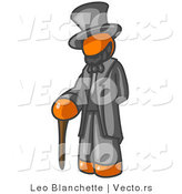 Vector of Orange Guy Depicting Abraham Lincoln with a Cane by Leo Blanchette