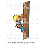 Vector of Orange Guy Design Masccot Worker Climbing a Phone Pole by Leo Blanchette
