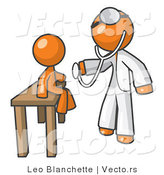 Vector of Orange Guy Doctor Examining a Child by Leo Blanchette