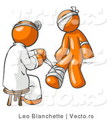 Vector of Orange Guy Doctor in a Lab Coat, Sitting on a Stool and Bandaging an Orange Person That Has Been Hurt on the Head, Arm and Ankle by Leo Blanchette