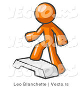 Vector of Orange Guy Doing Step Ups on an Aerobics Platform by Leo Blanchette